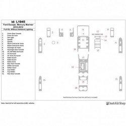 Накладки салона под дерево, карбон, алюминий для Ford Escape 2010-2012. Комплект L1945.