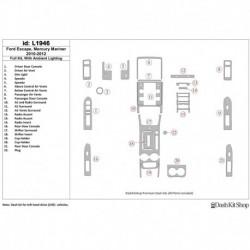 Накладки салона под дерево, карбон, алюминий для Ford Escape 2010-2012. Комплект L1946.