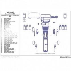 Накладки салона под дерево, карбон, алюминий для Honda Civic 2002-2002. Комплект L655.