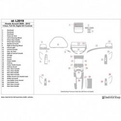 Накладки салона под дерево, карбон, алюминий для Honda Accord 2008-2012. Комплект L2019.