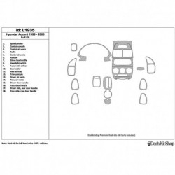 Накладки салона под дерево, карбон, алюминий для Hyundai Accent 2000-2000. Комплект L1935.
