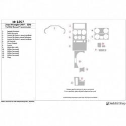 Накладки салона под дерево, карбон, алюминий для Jeep Wrangler 2007-2010. Комплект L907.