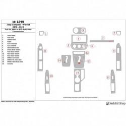 Накладки салона под дерево, карбон, алюминий для Jeep Compass 2010-2013. Комплект L919.