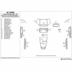 Накладки салона под дерево, карбон, алюминий для Jeep Cherokee 2014-UP. Комплект L2045.