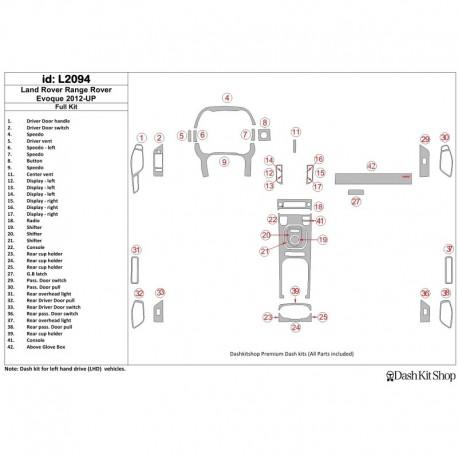 Накладки салона под дерево, карбон, алюминий для Land Rover Range Rover Evoque 2012-UP. Комплект L2094.