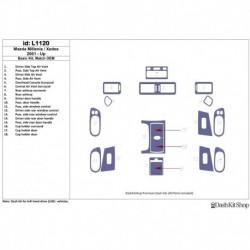 Накладки салона под дерево, карбон, алюминий для Mazda Milenia 2001-UP. Комплект L1120.