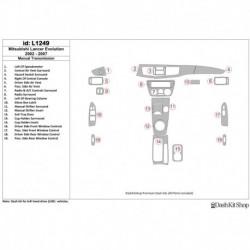 Накладки салона под дерево, карбон, алюминий для Mitsubishi Lancer Evolution 2002-2007. Комплект L1249.