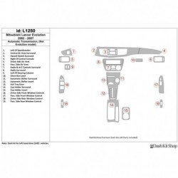 Накладки салона под дерево, карбон, алюминий для Mitsubishi Lancer 2002-2007. Комплект L1250.