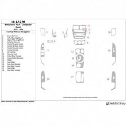 Накладки салона под дерево, карбон, алюминий для Mitsubishi Outlander Sport 2011-UP. Комплект L1270.