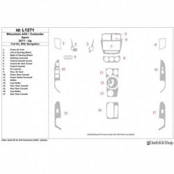 Накладки салона под дерево, карбон, алюминий для Mitsubishi Outlander Sport 2011-UP. Комплект L1271.