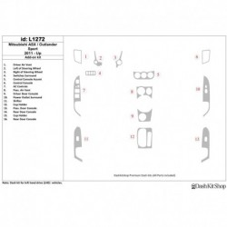 Накладки салона под дерево, карбон, алюминий для Mitsubishi Outlander Sport 2011-UP. Комплект L1272.
