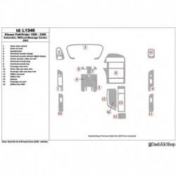 Накладки салона под дерево, карбон, алюминий для Nissan Pathfinder 1999-2000. Комплект L1346.