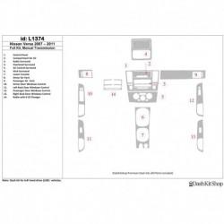 Накладки салона под дерево, карбон, алюминий для Nissan Versa 2007-2011. Комплект L1374.
