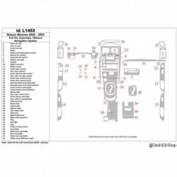 Накладки салона под дерево, карбон, алюминий для Nissan Maxima 2002-2003. Комплект L1453.