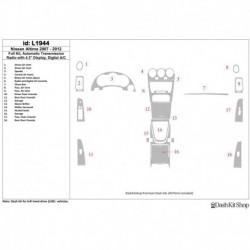 Накладки салона под дерево, карбон, алюминий для Nissan Altima 2010-2012. Комплект L1944.