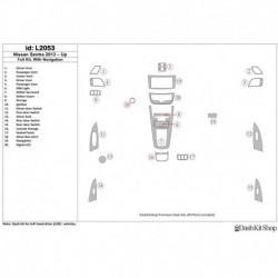 Накладки салона под дерево, карбон, алюминий для Nissan Sentra 2013-UP. Комплект L2053.