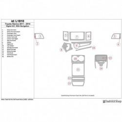 Накладки салона под дерево, карбон, алюминий для Toyota Sienna 2011-UP. Комплект L1810.