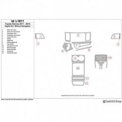 Накладки салона под дерево, карбон, алюминий для Toyota Sienna 2011-UP. Комплект L1811.