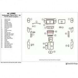 Накладки салона под дерево, карбон, алюминий для Volkswagen Tiguan 2013-UP. Комплект L2082.