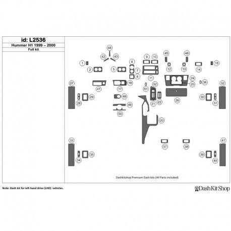 Накладки салона под дерево, карбон, алюминий для Hummer H1 1999-2000. Комплект L2536.