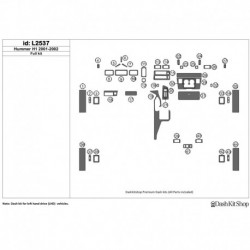 Накладки салона под дерево, карбон, алюминий для Hummer H1 2001-2002. Комплект L2537.