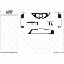 Накладки салона под дерево, карбон, алюминий для Nissan Note 2005-2012. Комплект L2948.