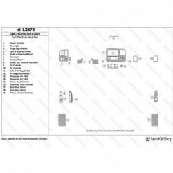 Накладки салона под дерево, карбон, алюминий для GMC Sierra 2003-2006 Full kit, extended cab. Комплект L2873.