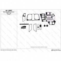 Накладки салона под дерево, карбон, алюминий для Mercedes-Benz Actros 2011-Up полный набор. Комплект L3057.