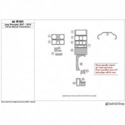 Накладки салона под дерево, карбон, алюминий для Jeep Wrangler 2007-2010. Комплект R161.