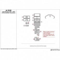 Накладки салона под дерево, карбон, алюминий для Jeep Wrangler 2007-2010. Комплект R162.