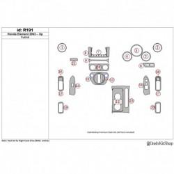 Накладки салона под дерево, карбон, алюминий для Honda Element 2003-UP. Комплект R191.