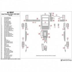 Накладки салона под дерево, карбон, алюминий для Jeep Cherokee Sport 1997-2001. Комплект R237.