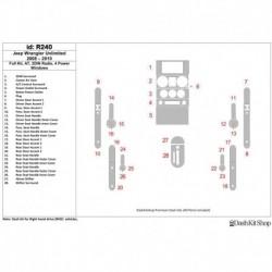 Накладки салона под дерево, карбон, алюминий для Jeep Wrangler 2008-2010. Комплект R240.