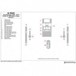 Накладки салона под дерево, карбон, алюминий для Jeep Wrangler 2008-2010. Комплект R242.