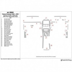 Накладки салона под дерево, карбон, алюминий для Mazda Roadster 2005-2008. Комплект R281.