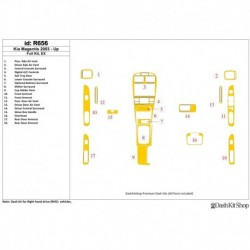 Накладки салона под дерево, карбон, алюминий для Kia Magentis 2003-2005. Комплект R656.