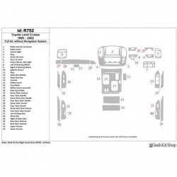Накладки салона под дерево, карбон, алюминий для Toyota Land Cruiser 1999-2002. Комплект R752.