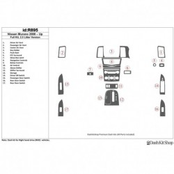 Накладки салона под дерево, карбон, алюминий для Nissan Murano 2008-UP. Комплект R895.