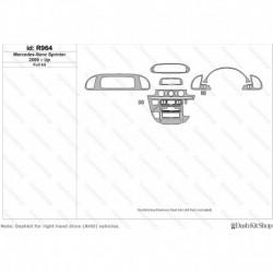 Накладки салона под дерево, карбон, алюминий для Mercedes-Benz Sprinter 2000-Up. Комплект R964.