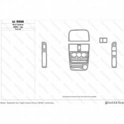 Накладки салона под дерево, карбон, алюминий для Kia Carens 2000-Up. Комплект R996.