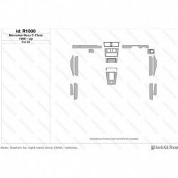 Накладки салона под дерево, карбон, алюминий для Mercedes-Benz C-class. Комплект R1000.