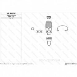 Накладки салона под дерево, карбон, алюминий для Nissan Almera 2000-Up. Комплект R1030.