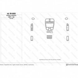 Накладки салона под дерево, карбон, алюминий для Subaru Impreza 2001-Up. Комплект R1055.