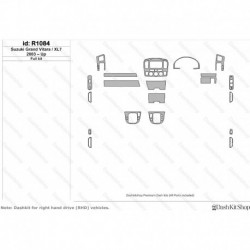 Накладки салона под дерево, карбон, алюминий для Suzuki Grand Vitara 2003-Up. Комплект R1084.