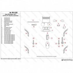 Накладки салона под дерево, карбон, алюминий для Jeep Wrangler 2011-Up. Комплект R1125.