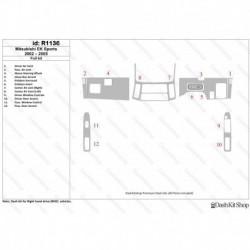 Накладки салона под дерево, карбон, алюминий для Mitsubishi ek Wagon/ ek Sports 2002-2005. Комплект R1136.