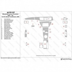 Накладки салона под дерево, карбон, алюминий для Mitsubishi Lancer Evolution 2001-Up. Комплект R1137.