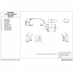 Накладки салона под дерево, карбон, алюминий для Chevrolet Trail Blazer 2002-UP. Комплект L212.