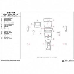 Накладки салона под дерево, карбон, алюминий для Dodge Journey 2011-UP. Комплект L1969.